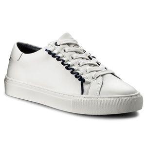 Tory Burch Sport Ruffle White Navy Sneaker 10 NWT